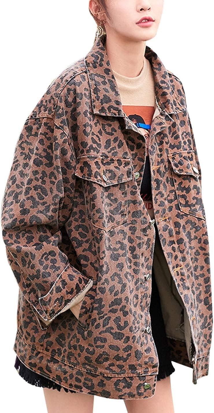 Gihuo Women's Leopard Print Loose Boyfriend Denim Jean Jacket
