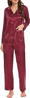 Women Satin Pajamas Long Sleeve Button Top with Pocket and Pants Pj Set Sleepwear S-XXL
