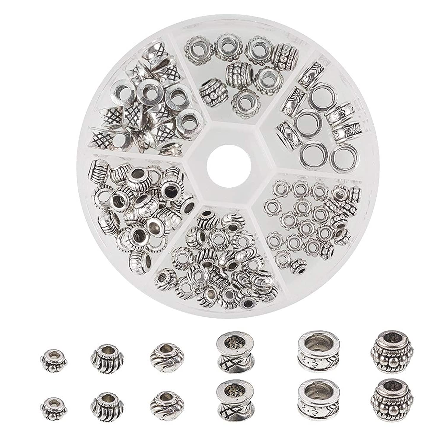 PH PandaHall 130pcs 6 Style Antique Silver Tibetan Alloy Column Spacer Beads Rondelle Tube Metal Spacers for Bracelet Necklace Jewelry Making