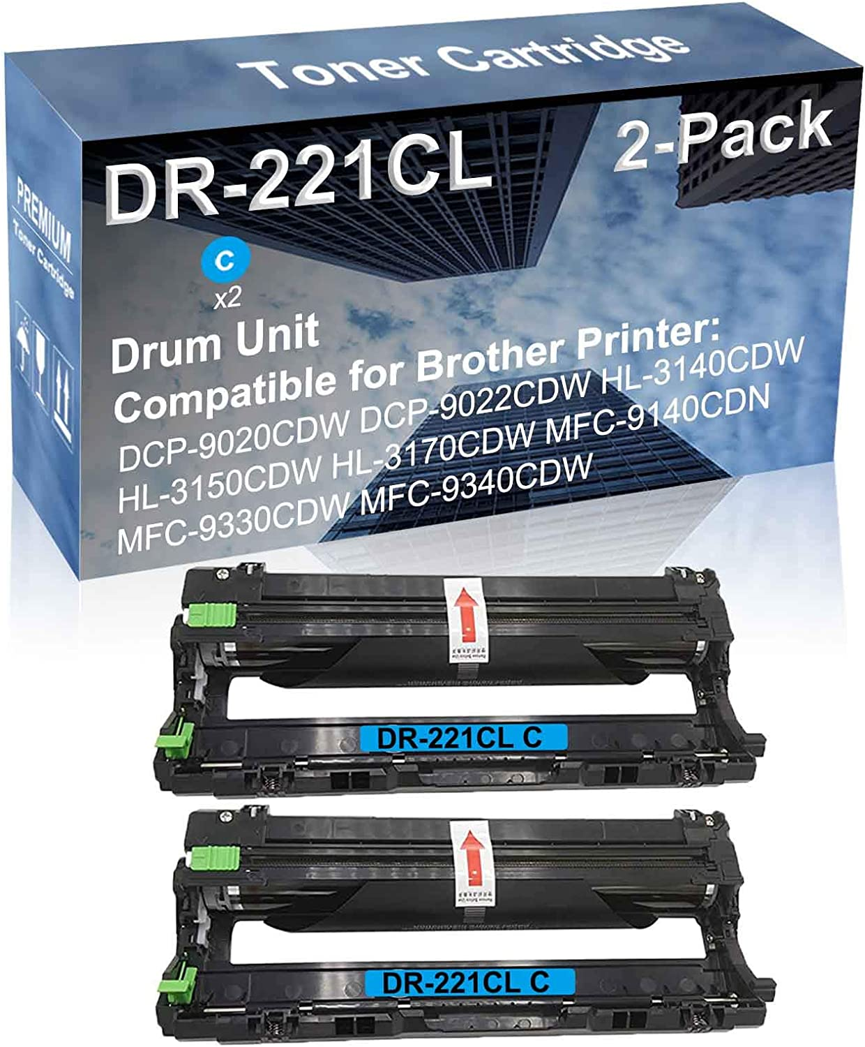 2-Pack Cyan Compatible High Yield U Award-winning store DR221 DR-221CL Unit Drum Bombing new work
