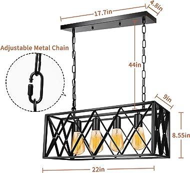 Industrial Kitchen Island Pendant Light Fixture, E26 Vintage Rectangular Pendant Lighting, 4-Light Black Metal Hanging Light,