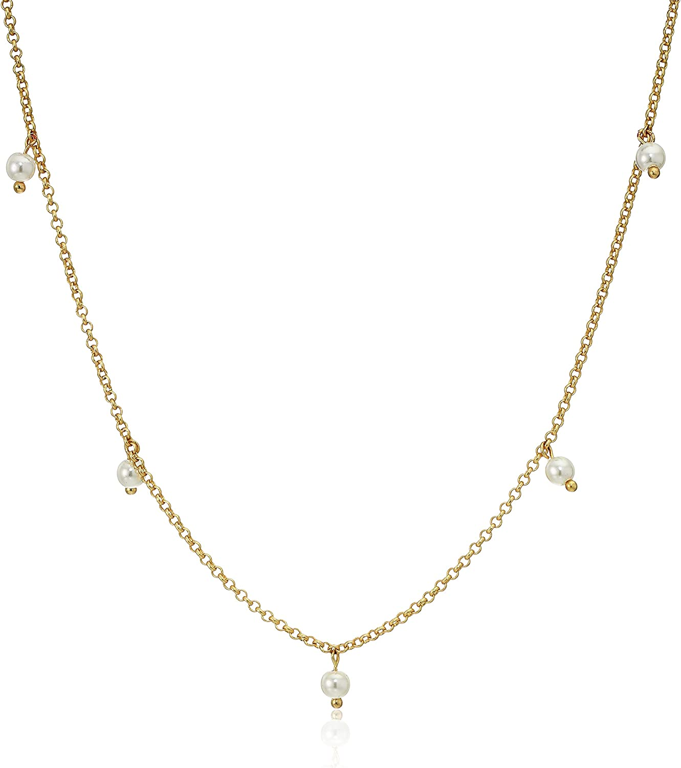 Lucky Brand Jewelry Pearl Beaded Strand Necklace, Gold