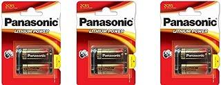 3 Panasonic 2CR5 6-Volt Photo Lithium Cylinder Batteries 2CR5M