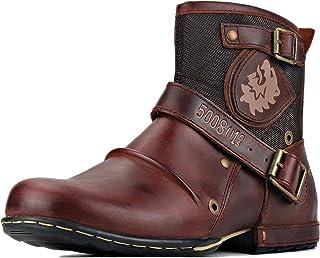 Bottes de Moto Cowboy pour hommes Mode Zipper Bottes Chukka en cuir Chaussures décontractées OS-5008-1-Y-10-R