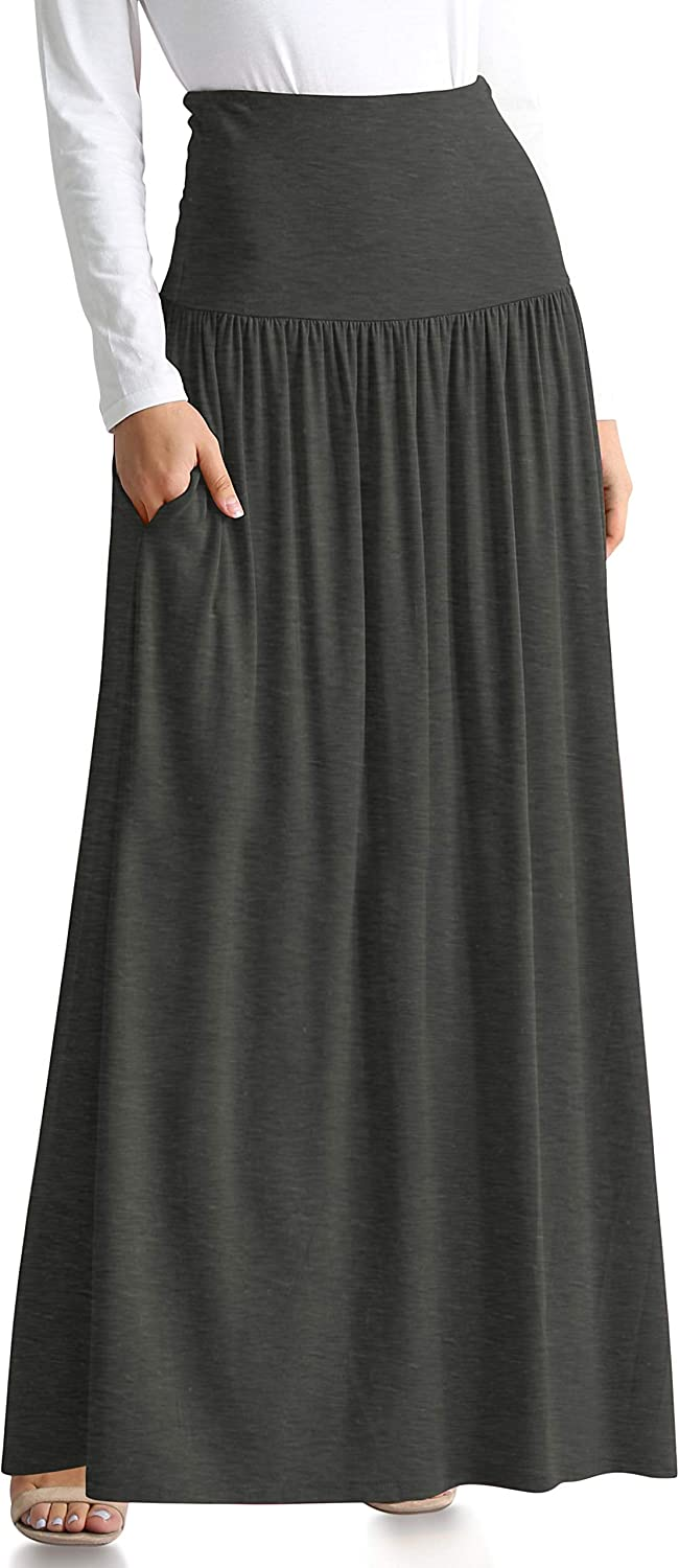 Reg and Plus Size Maxi Skirts for Women Long Length Skirts with Pockets Beach SwimCoverup,Night Out,Casual Office,Party