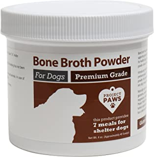 Project Paws Bone Broth for Dogs with Powdered Elk Antler and Bone - Collagen and Mineral Rich Food Topper for Dogs - Whole Food Superfood Powder Multivitamin for Dogs - 4 oz