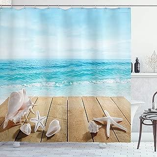 Ambesonne Seashells Shower Curtain, Wooden Boardwald with Seashells Sunshine Vacations Beach Theme, Cloth Fabric Bathroom Decor Set with Hooks, 70