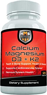 HMS Nutrition Calcium, Magnesium, Vitamins D3 and K2 - 120 Vegan Capsules, 60 Day Supply - Supports Lung & Immune System H...