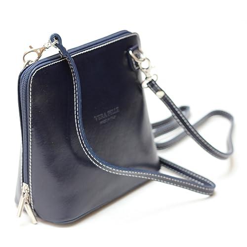 8c058bb248da Italian Ladies Small Leather Handbag Cross Body with Shoulder Strap (Navy)