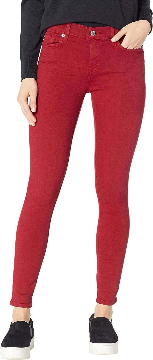 7 For All Mankind Womens Ankle Skinny in Lipstick Red