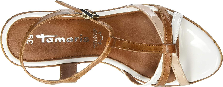 Tamaris 1-1-28347-24 392 dames sandalen met T-gespen Braun Cognac Comm 392
