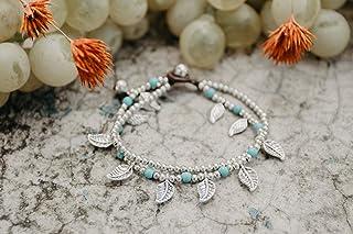 Changnoi Turquoise Silver Bead Bracelet, Silver Chain Bracelet for Women, Bohemian Bracelet, Unique Bracelet Gift for her