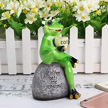 JuxYes Creative Craft Resin Frog Figurine Decor, Frog Sitting On Stone Statue Drinking Coffee Sculpture Statue, Personalized