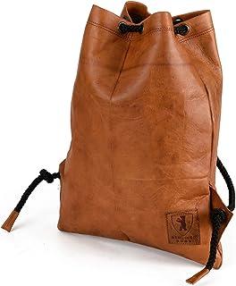 Berliner Bags Beliner Bags Turnbeutel Gym Bag aus Leder Beutel Rucksack Sportbeutel Turntasche Wasserdicht Damen Herren Vintage Braun