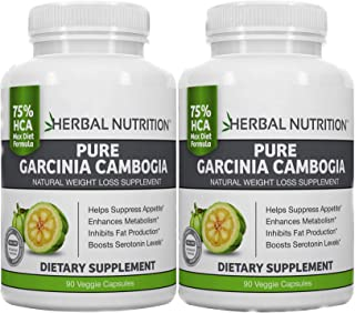 #1 Rated Garcinia Cambogia Extract for Weight Loss Two 90 Count Bottles 75% HCA 1500mg Proven Diet Dosage 30% More per Capsule MFD USA, Free Shipping