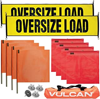 VULCAN Stretch Cord Oversize Load Banners, Flags, and Magnets Kit (Includes Hi-Viz Vented Storage Bag)