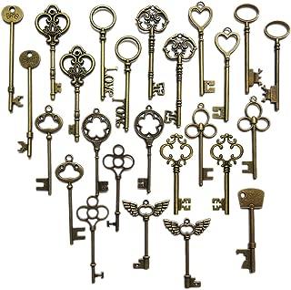 N'joy Vintage Skeleton Keys, Mixed Steampunk Keys, Extra Large (26PCS L26B-Antique Bronze)