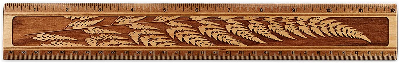 "product image for 12"" Solid Wood Artisan Ruler - Engraved Sword Fern Measures Inches & Centimeters - Made in USA"
