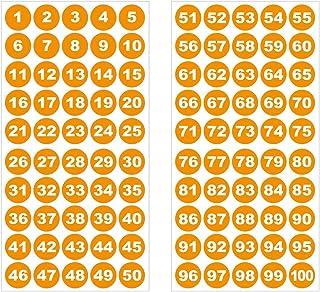 80 Blatt runde Zahlenaufkleber 1 bis 100 selbstklebende Aufkleber Zahlen Etiketten Organisieren Aufkleber f/ür Lagerbestand Klassifizierung