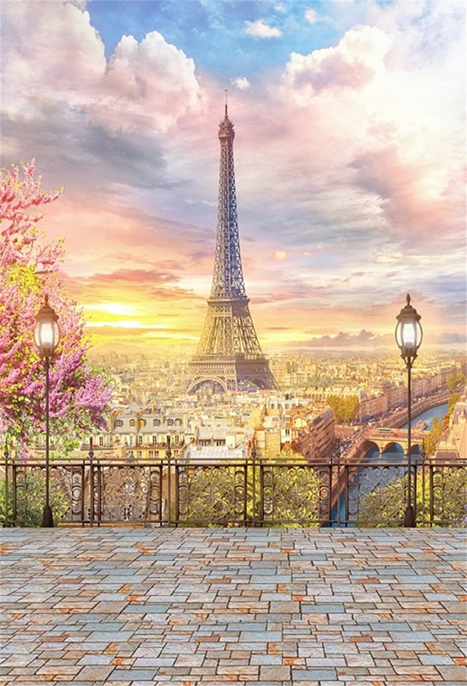 Laeacco 5x7ft Vinyl Photography Background Paris Balcony Landscape City Aerial View Eiffel Tower Street Lamp Cloudy Sky Blossoms Trees Pink Photo Background Wedding Girls Adult Background Studio Video