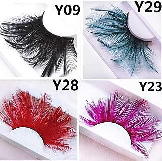 Nicute Fashion Handmade Long Lashes Dance Colorful Feather False Eyelashes Set Halloween Cosplay Fake Eyelash 4 Pairs for Women and Girls