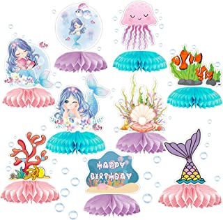 9 Pcs Mermaid Honeycomb Centerpieces for Birthday Party, Under The Sea Table Topper Party Decoration Supplies for Ocean Me...
