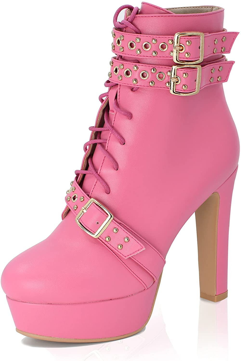 ORIPALLA Lace Up Platform High Heels Our shop OFFers the best service for Toe Women Bootie Round Max 70% OFF
