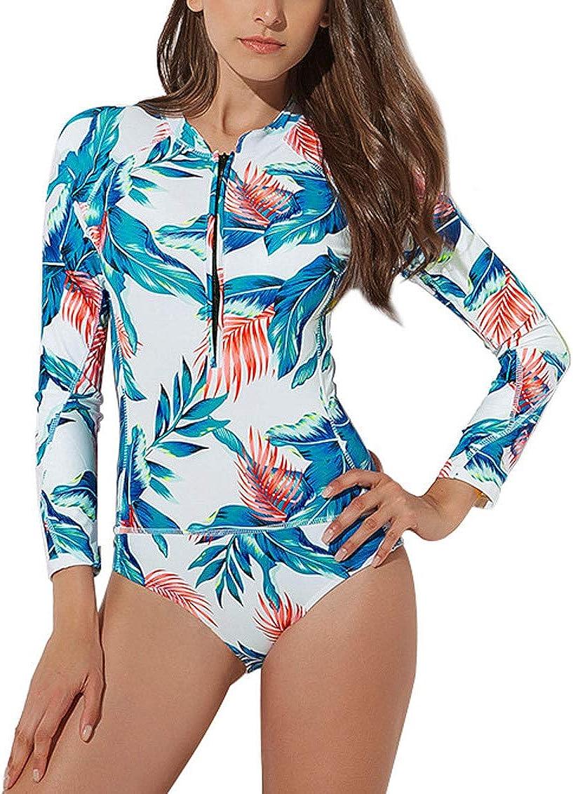 FEOYA Women Rash Guard Long Sleeve One Piece Swimsuit Zipper Surfing Bathing Suit UPF 50