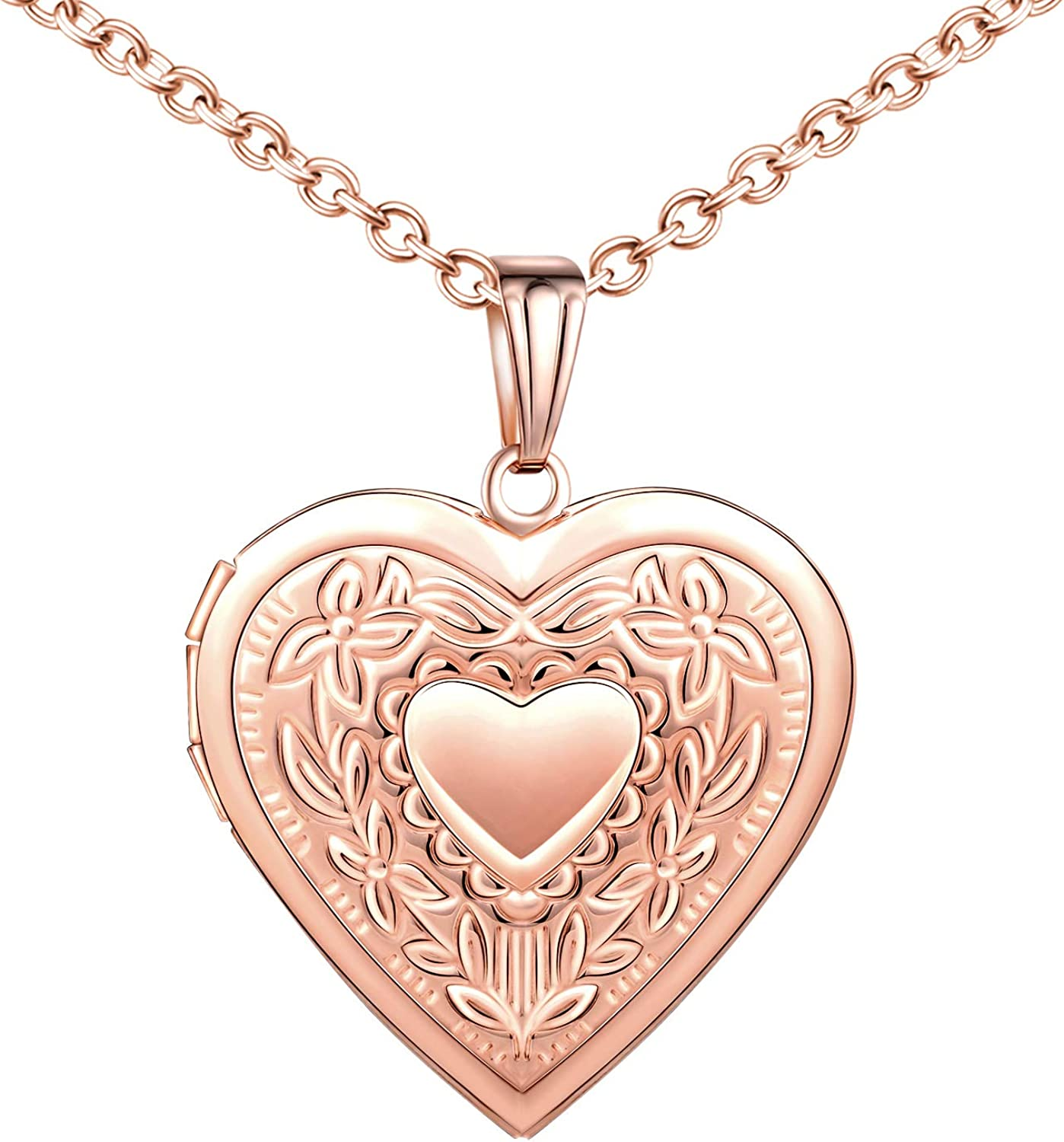 Online limited product MicLee Heart Shape Photo Locket Steel Phoenix Mall Necklace Stainless Pendant