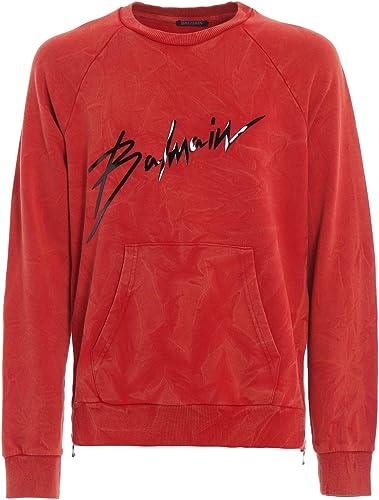 Balmain Luxury mode Homme RH13102J9283AA Rouge Sweatshirt   Printemps été 19