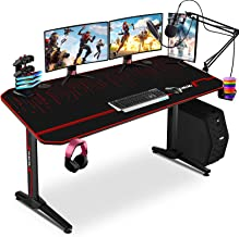 $159 » Sponsored Ad - Gaming Desk 55 Inch PC Computer Desk with Free Mouse pad & Gaming Handle Rack, T-Shaped Ergonomic Racing Pr...