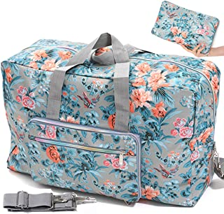 Foldable Travel Duffle Bag for Women Girls Large Cute Floral Weekender Overnight Carry On Bag for Kids Checked Luggage Bag