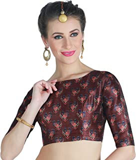Studio Shringaar Women's Poly Silk Digital Printed Saree Blouse With Boat Neck.