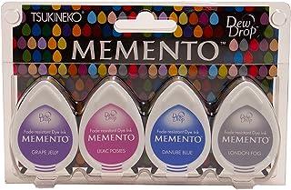 Tsukineko 4-Pack Assortment Memento Dew Drops Fade-Resistant Ink, Rainy Daze