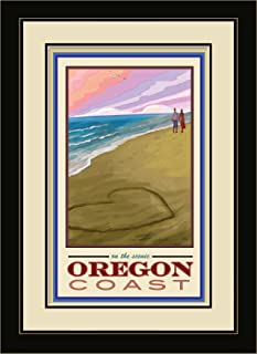Northwest Art Mall JK-1864 MFGDM LOC Oregon Coast Love on Coast Framed Wall Art by Artist Joanne Kollman, 13 by 16-Inch