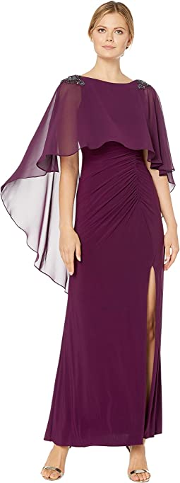 Chiffon Capelet Jersey Gown with Embellishment