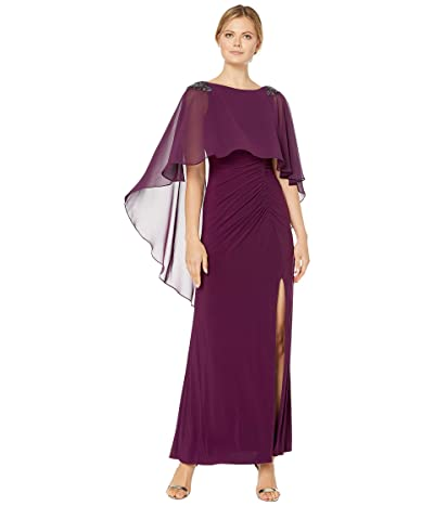 Adrianna Papell Chiffon Capelet Jersey Gown with Embellishment (Shiraz) Women