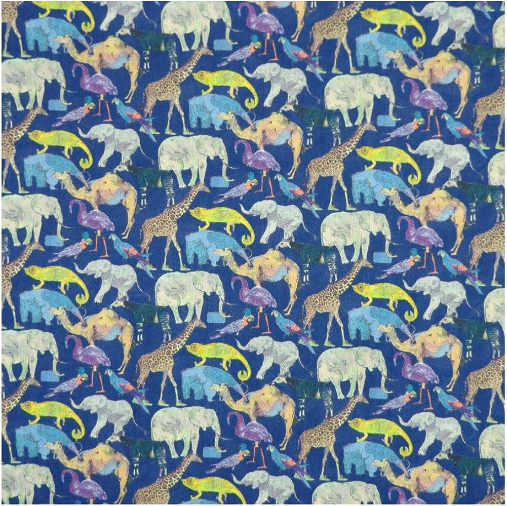 Blue & Multicolored Print 'Queue for the Zoo' Liberty Lawn Cotton Handkerchief