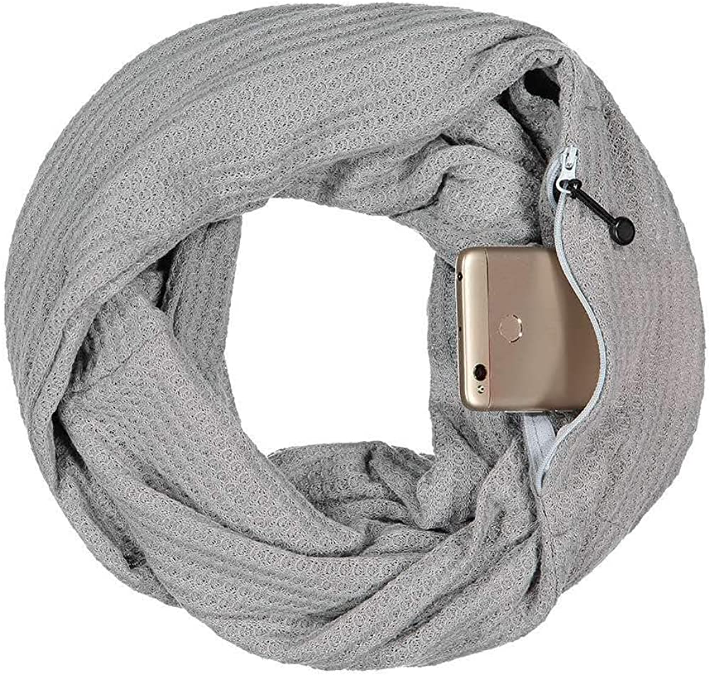 Pop Fashion Warmin-Up Pocket Scarf - Lightweight Knot Travel Scarves, Infinity Scarves with Zipper Pockets