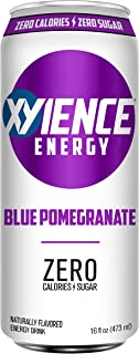 XYIENCE Energy Drink | Blue Pomegranate | Sugar Free | Zero Calories | Natural Flavors | Vitamin Fortified | 16 Ounce (Pack of 12)