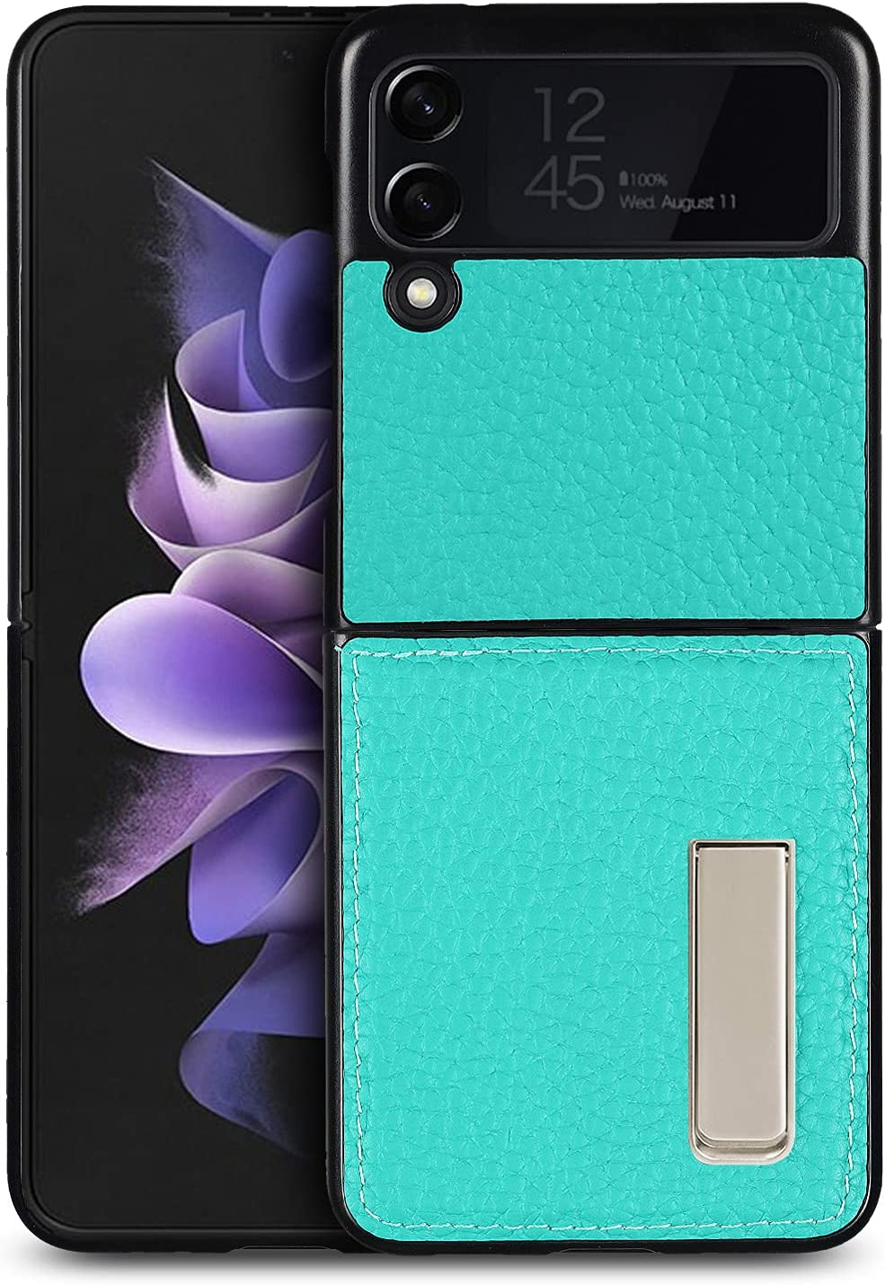 iCoverCase Designed for Samsung Galaxy Z Flip 3 5G Case (2021) with Stand, Magnetic Kickstand Ultra-Thin Genuine Leather Protective Case - (Blue-Green)