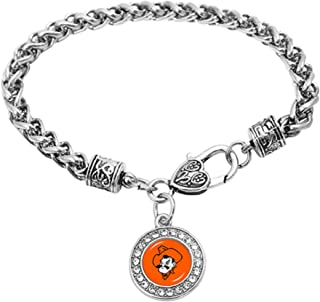 Swamp Fox Kansas State Wildcats Double Leather Band Bracelet with Charm 7 to 9