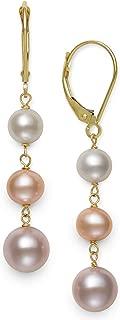14k Yellow Gold Freshwater Cultured Pearl Drop Earrings for Women