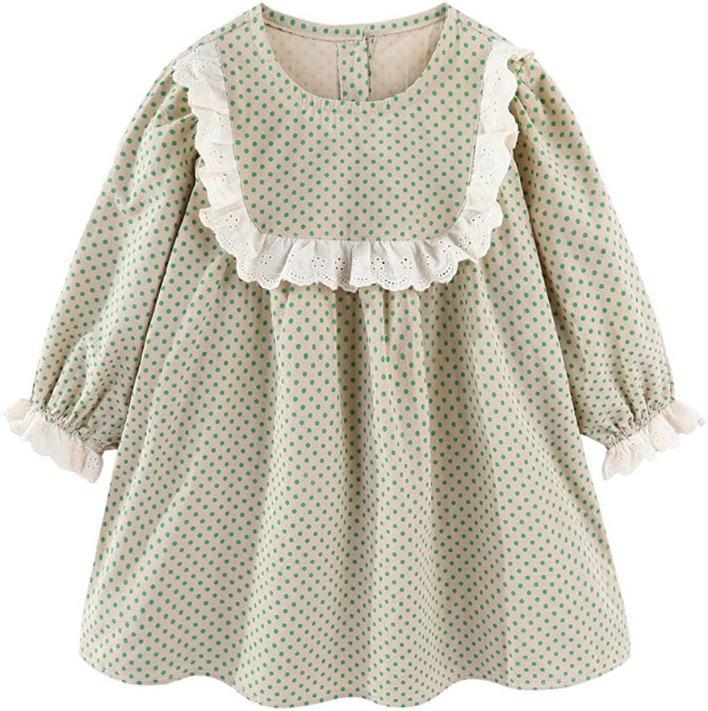LittleSpring Little Girls Long Sleeve Dress Tunic Swing Dress Casual Printing
