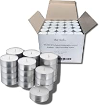 PARNOO Bulk Set of 250 Tealight Candles in Metal Cups (White) 6 Hour Burn Time (Unscented)