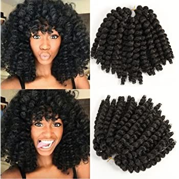 8 inch Black Wand Curly Braids Jamaican Bounce African Collection Crochet Braiding Hair Havana Mambo Twist Synthetic Hair Extension 22 Roots/Pack