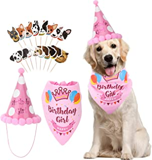 Pawaboo Dog Birthday Bandana Set, Adorable Doggie Birthday Gift Outfit Decorations with Bandana Hat & 16 Pack Cake Flags, Soft Cutton Triangular Scarf Collar Pet Birthday Party Accessory Set