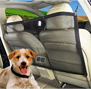Neal LINK Car Dog Barrier Seat Net Organizer Universal Stretchy Auto Backseat Storage Carrier Anti Collision Adjustable Mesh Disturb Stopper from Children and Pets Safety Isolation