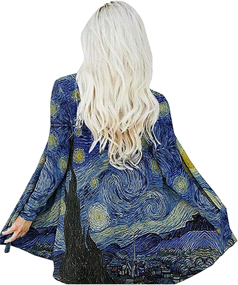 Oil Painting Van Gogh's Starry Sky Long Cardigans for Women Street Loose Casua Light Open Front Cardigans