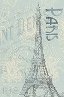 Notebook - Paris: Blue Art Hand Drawn / Printed in America Notebook / Journal / Planner - Quote, Gratitude Accessories & G...